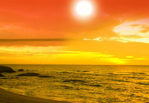 hoàng hôn trong tranh phong cảnh biển